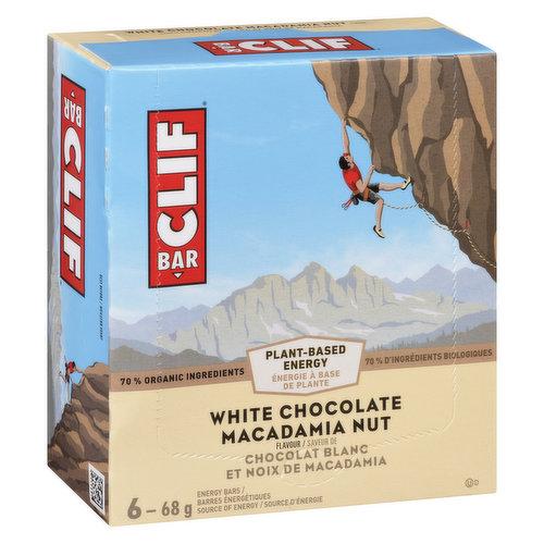 6-68g White Chocolate Macadamia Nut Flavour Energy Bars. 70% Organic Ingredients.
