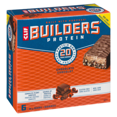 Clif Builder's have 20g of complete protein, the vitamins and minerals you need to boost protein metabolism, and carbohydrates for sustained energy. 6x68g