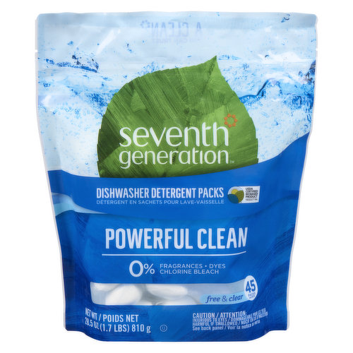 Easy-to-use dishwasher packs give you the perfect amount of grease-fighting dishwasher detergent for a powerful clean you can trust.Formulated with plant-based enzymes without chlorine bleach, phosphates, or fragrances.