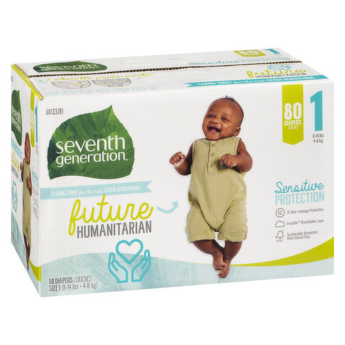 12 hour leakage protection. FreshAir breathable layer. 8-14lbs. 80 diapers.