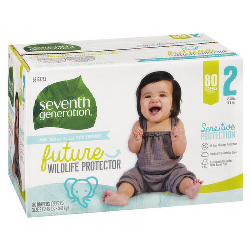 12 hour leakage protection. FreshAir breathable layer. 12-18lbs. 80 diapers.