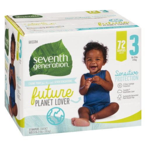 Will help keep your baby's sensitive skin protected and dry. The ultra absorbent core in Seventh Generation diapers, made with sustainably-sourced fluff and 0% chlorine bleaching, helps prevent leaks. Size 3 (16-21lbs or 7-9kg)