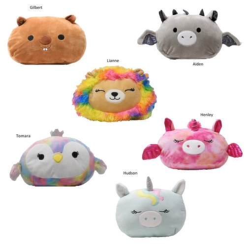 Available while quantities last. Please indicate squishmallow preference in notes: Gilbert, Aiden, Lianne, Tomara, Henley or Hudson.