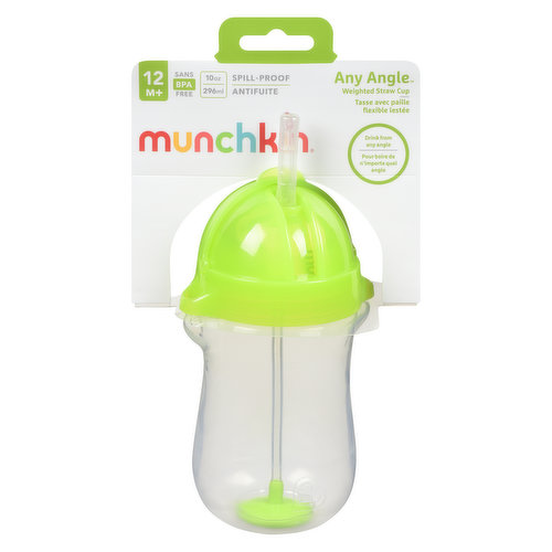 Allows your toddler to hold the cup at any angle. Guaranteed leak-proof seal. Soft, flexible straw is gentle on gums. Includes brush to easily clean straw. 10oz capacity, BPA-free, dishwasher safe.