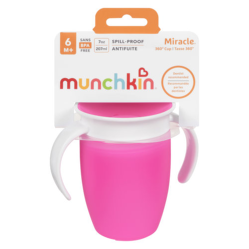6 months+ 7oz capacity. Features dentist recommended spoutless design and automatically seals when toddler is done drinking. 360-Degree drinking edge eliminates spills completely.