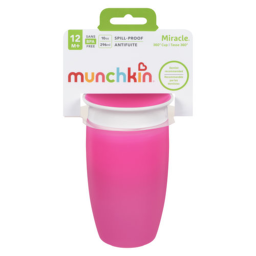 Toddler cup with dentist recommended spoutless design. 360 edge allows drinking from any side of the cup- simply tilt the cup and suck on the valve's edge. Cup automatically seals when child stops.