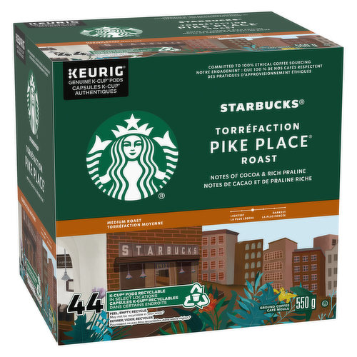 Notes of chocolate & toasted nut, medium roast ground coffee, recyclable keurig genuinek-cup pods.