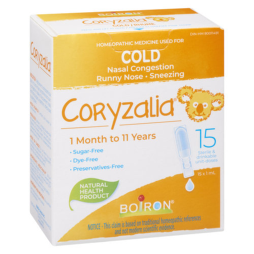 Homeopathic medicine used for cold symptoms such as nasal congestion, runny nose in children 1 month to 11 years of age. No sugar, dye or preservatives. Sterile & drinkable unit doses. 15X1ml doses.