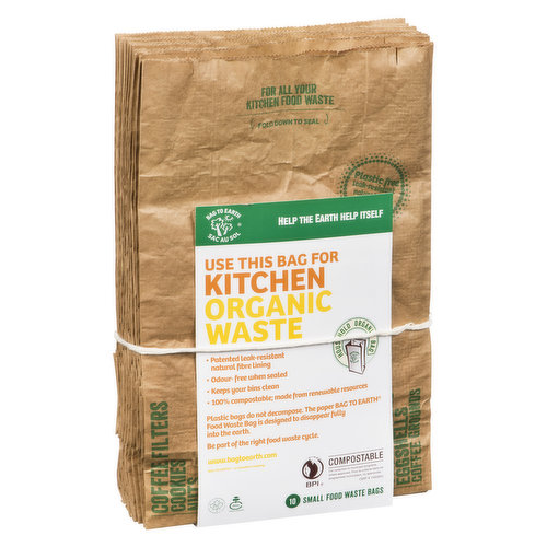 The BAG TO EARTH Food Waste bags is made from all-natural materials and is designed to disappear fully into the earth  helping complete the organic loop.