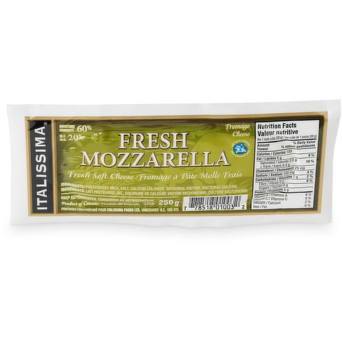 Fresh soft cheese. 20% MF 60% Moisture. Product of Canada, prepared in Vancouver B.C.