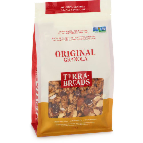 Available in Bakery. Organic Toasted Whole Grains,Oats,Cashews, Almonds, Coconut, Cranberries,Raisins, Dates and Honey,  Enjoy with Yogurt, Milk or Cream or on its own as a Great Trail Mix Snack.