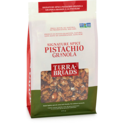 Small Batch, All Natural. Made lightly Spiced, Tasty and Chunky. No Ordinary Granola.  All carefully blended with a signature spice mixture to wholesome perfection. Non GMO.