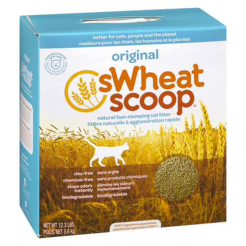 Made from 100% wheat, fast-clumping utilizes wheat enzymes to eliminate odor and wheat starch to help clump fast. Chemical & Clay Free. Biodegradable.