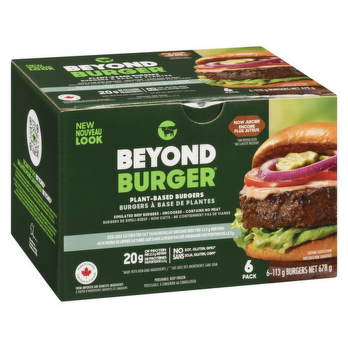 Frozen. Plant based burgers. No Soy, No Glulten and Non GMO. 20g of protein per 113g serving