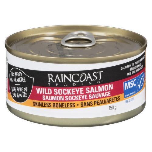 Free wild caught premium boneless and skinless sockeye salmon comes in BPA free cans with no added water or oil.