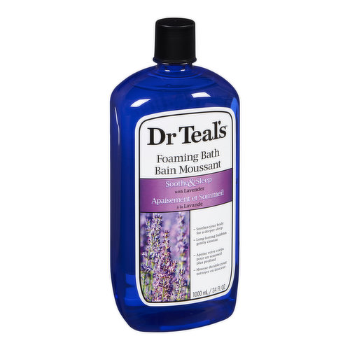 Foaming bath transforms an ordinary bath into a relaxing spa with luxurious essential oils to soothe the senses, relax tense muscles and provide relief from stress.