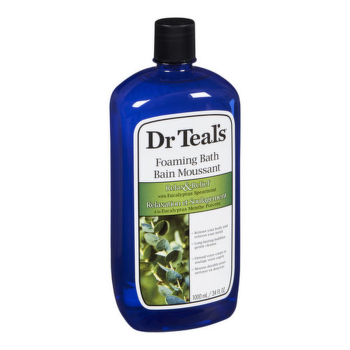 Dr Teal's Foaming Bath transforms an ordinary bath into a relaxing spa by combining pure Epsom salt and luxurious essential oils to soothe the sense, relax the sense, relax muscles and provide relief.