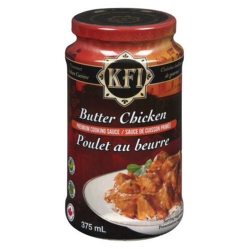 KFI's Butter Chicken cooking sauce is a delicate tasting buttery tomato sauce mixed with various spices, including cumin, cloves, cinnamon, coriander, fenugreek and cream.