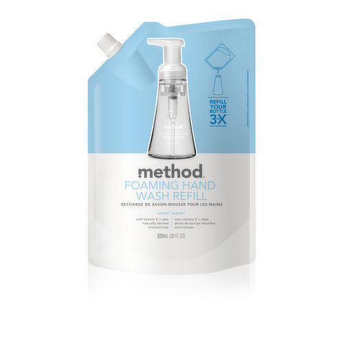 Enough biodegradable, naturally-derived gel hand wash to refill your bottle nearly 3x. Enriched with vitamin E and aloe. Sweet water is a blend of grapefruit, lemon, jasmine and lily of the valley.