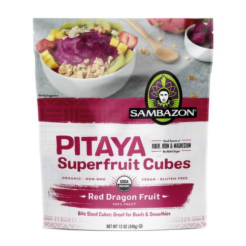Made with 100% organic red dragon fruit cut into cubes for a delicious addition to your smoothie or bowl. Enjoy a refreshing flavor similar to a mix between a kiwi & a pear. Good source of fiber, iron, potassium & magnesium. Non-GMO, vegan & g