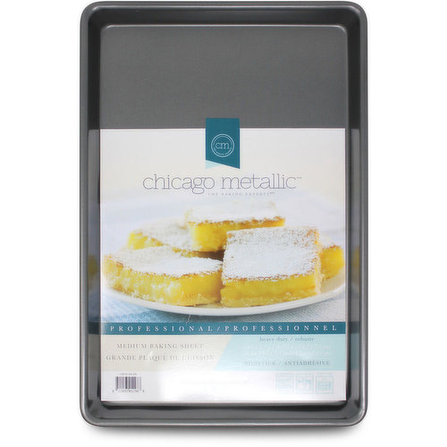 Heavy Duty Steel Construction. Non-stick, easy release. Rounded corners prevent warping. Dishwasher Safe. 14.7X9.7X1 inches.