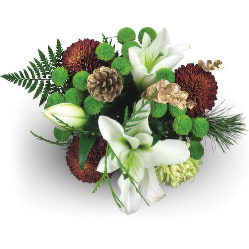 Hand wrapped mix of seasonal fresh cut flowers. Vase not included