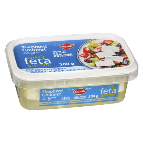 A true Mediterranean style feta that is made only from fresh sheep milk. The semi soft brined  cheese has a smooth texture and a fresh, sweet taste.