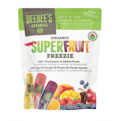 Freeze at home. Sweetened with 100% fruit juice and added puree, with only 25 calories per pop. No artificial colours, flavours or preservatives and organic. Assorted flavours. 10x40ml.