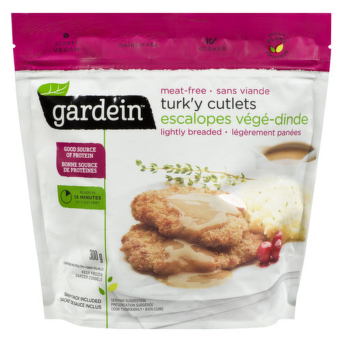 Crispy on the outside, tender on the inside and covered with homestyle gravy.Ready in 15 minutes! Meat-free, dairy-free, kosher, and vegan. A good source of protein.