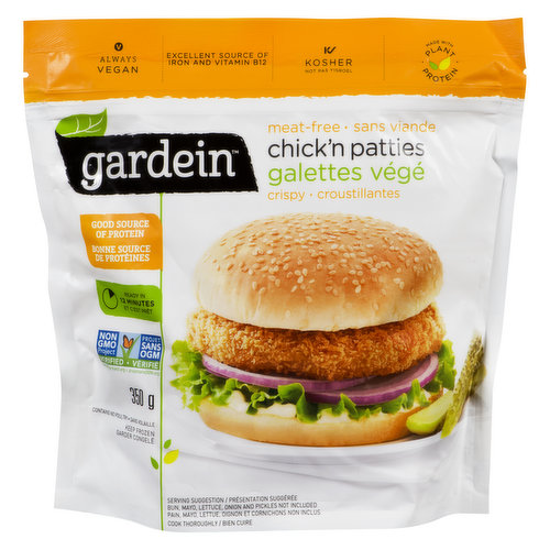 Theres no guilt with these easy, delicious, and crispy chickn patties. Excellent source of iron, vitamin B12, and protein. Ready in 12 minutes. Kosher and vegan.