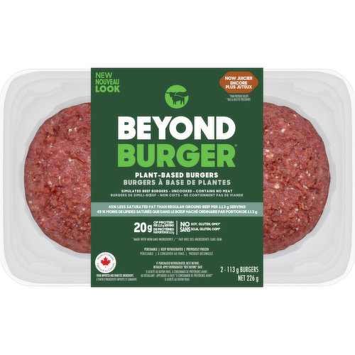 The worlds first plant-based burger that looks, cooks, & satisfies like beef without GMOS, soy, or gluten. 20g of plant protein.