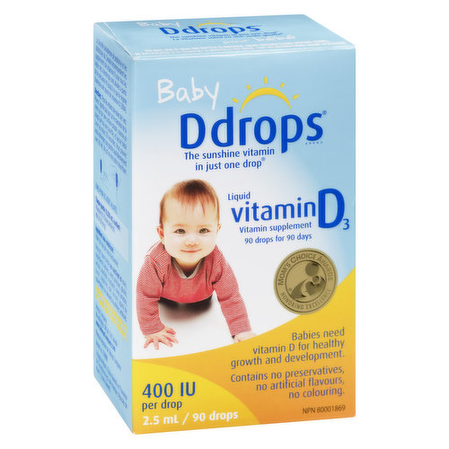 Vitamin Supplement 90 Drops for 90 Days. Babies Need Vitamin D for Healthy Growth and Development. Contains no Preservatives, No Artificial Flavours, No Colouring.