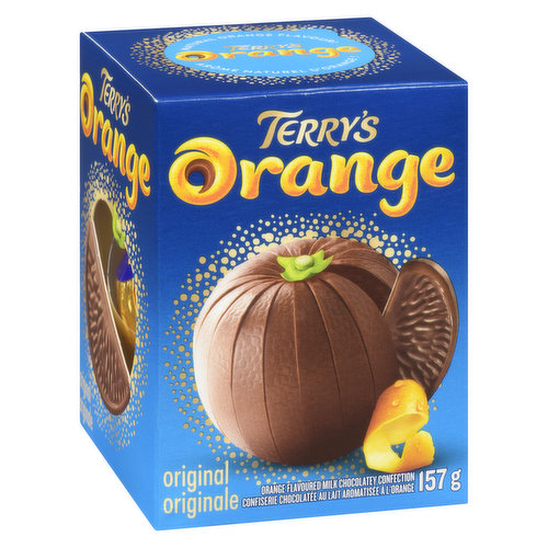 A Delicious & delectable combination of a hint of orange oil & milk chocolate. Just give the orange a whack, snack & enjoy!