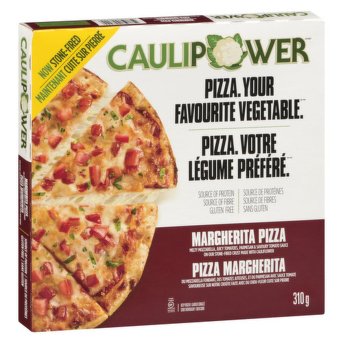 Diced vine-ripened tomatoes, a generous helping of mozzarella & parmesan cheese top the #1 cauliflower pizza crust in America to make margherita pizza perfection.