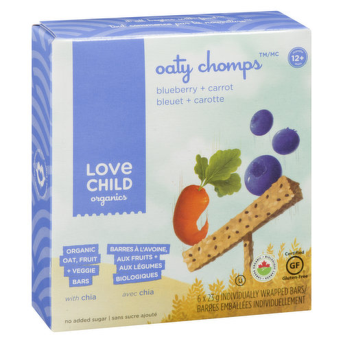 Organic Oat, Fruit + Veggie Bars with Chia. 6x23g Individual Wrapped Bars.