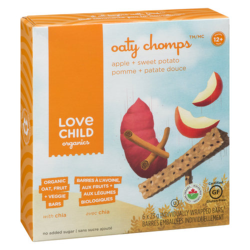 Delicious healthy bars made with oats, fruits and vegetables, plus the goodness of chia seeds. No added sugar and real whole fruit. Gluten and nut free. Vegan. For 12+ months. Individually wrapped.