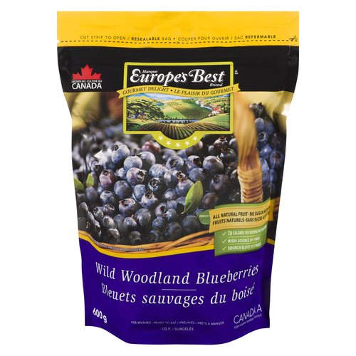 Delectable wild blueberries. Great source of fibre & antioxidants. No Sugar added. Pre-washed & ready to use. Resealable bag.