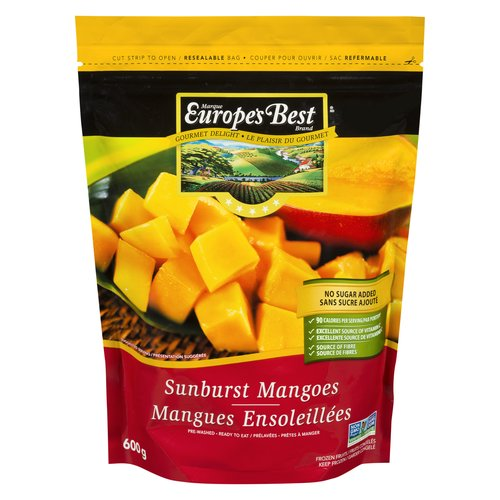 Delicious chunks of mango. Great source of vitamin C & fibre. No sugar added. Pre-washed & ready to use. Resealable bag.
