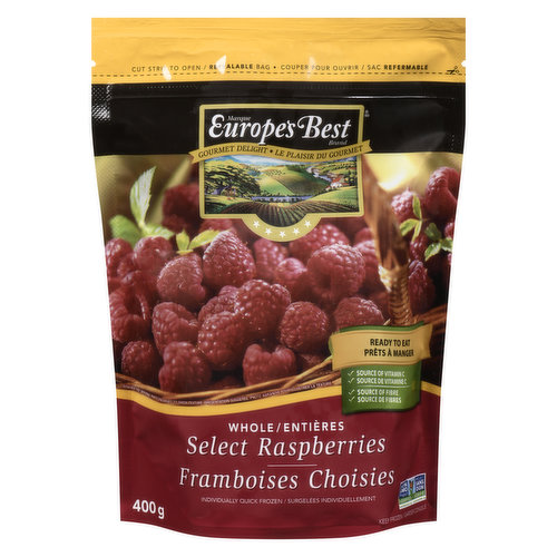 Sweet & tart raspberries, Great source of fibre, vitamin C & iron. No sugar added. Pre-washed & ready to use. Resealable bag.