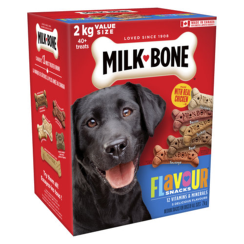 For Dogs all Sizes. 5 Meaty Flavours! 12 Vitamins and Minerals.