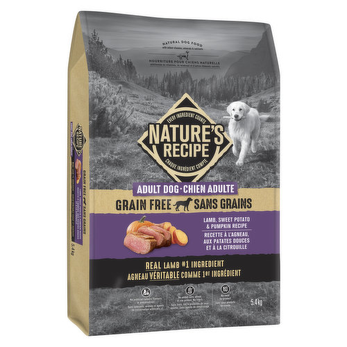 Introducing a grain free natural dog food with added vitamins, minerals & nutrients. This premium dog food is crafted with real lamb & the best of nature's ingredients, no preservatives or additives.
