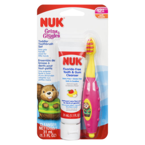 No Fluoride Safe to Swallow. Rest Easy Support Keeps Germs off Brush. Toothbrush Helps Clean Baby's Teeth. Soft Bristles Gentle on Sensitive Skin. Easy Grip  Handle for Little Hands.