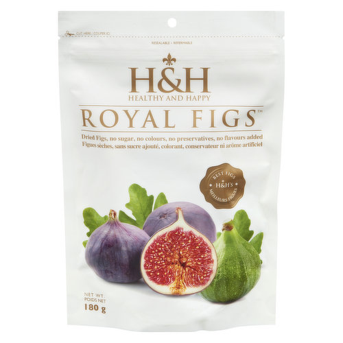 Dried figs. No sugar, no colours, no preservatives, no flavours added. Resealable pouch.