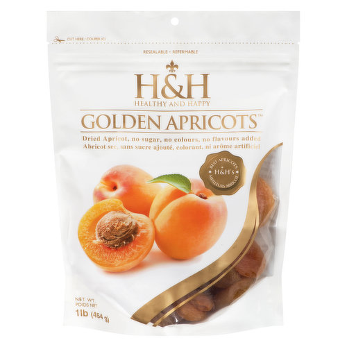 Dried apricots. No sugar, no colours, no flavours added. Resealable pouch.