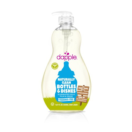 Dapple Fragrance-Free Baby Bottle & Dish Liquid is perfect for safely cleaning baby bottles, sippy cups, pacifiers, and breast pump components.
