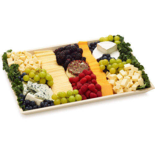 48 hour Prep Time Required for Party Platters. Havarti, Swiss, Blue Cheese, Medium Cheddar, Raspberries, Blackberries, Blueberries, Grapes, Goat Cheese, Double Crme Brie, Vintage Gouda.