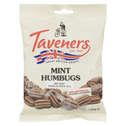 Taveners mint humbug sweets are a delicious uniquely British flavoured treat individually wrapped, ready for sharing.