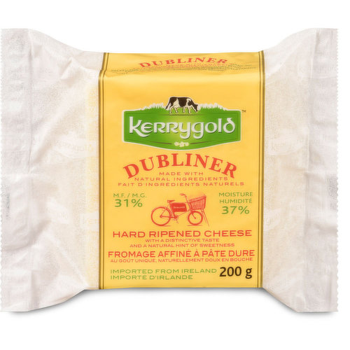 100% Natural Cheese. Made with Natural Ingredients. 31% M.F.. 37% Moisture. Hard Ripened Cheese with a Distinctive Taste and a Natural Hint of Sweetness. Imported From Ireland.