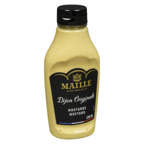 Traditional Dijon mustard with smooth & creamy texture. Perfectly paired with sandwiches, chicken & fish recipes. Product of Canada.
