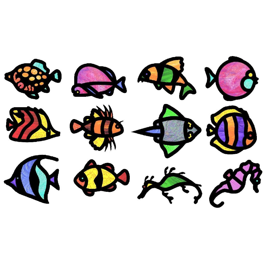 Tropical Fish Stained Glass Frames(24pc)